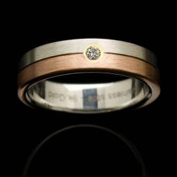 Stainless Steel Ring with Rose Gold Inlay and Diamond (RS5-RSM-dia)